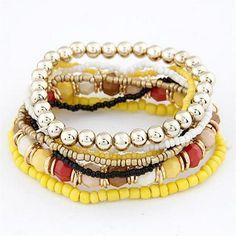 7Pcs Multilayer Acrylic Bead Bracelets 05A7