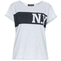 Topshop 'New York' Graphic Tee (575 UYU) ❤ liked on Polyvore featuring tops, t-shirts, jersey top, graphic design tees, jersey tee, graphic print tees and roll sleeve t shirt