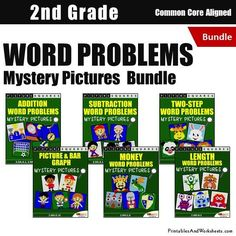 Grade 2 Word Problems Mystery Pictures Coloring Worksheets Second Grade Math, Grade 2, Addition Words, Problem Set, 2nd Grade Math Worksheets, Coloring Worksheets, Bar Graphs, Addition And Subtraction, Word Problems
