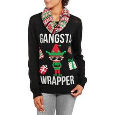 Juniors' Quirky Ugly Christmas Sweater with Scarf 2Fer, Size: Medium, Black