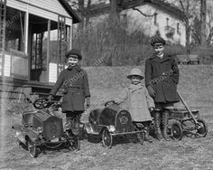 Victorian Children W Antique Pedal Cars! 8x10 Reprint Of Old Photo