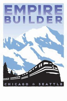 I would love to take the Empire Builder and see the gorgeous mountain scenery out west.from the view of a train. Train Posters, Railway Posters, Train Art, By Train, Train Route, Train Vacations, California Zephyr, Vintage Travel Posters, Vintage Ads