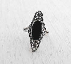 Vintage Sterling Silver Onyx Black Glass Ring - Mid Century Designer Beau Adjustable Jewelry / Marquise Statement