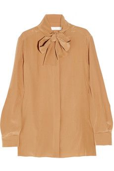 Chloe Pussy-Bow Pale Terracotta Blouse