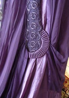 Purple silk satin evening dress, 1910, w/ purple silk chiffon overdress, gold net lace bodice, purple lace panels