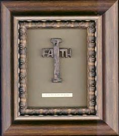 shadow box with a railroad spike.