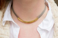 Leather & Gold Tube Necklace In Coral Fuchsia Lime and Grey. Bright Summer Colors.
