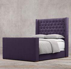 Master option - not sure about platform - vintage velvet - aubergine - Adler Shelter Diamond-tufted Fabric Platform Bed With Footboard