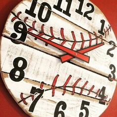 Pallet Wood Baseball Clock Pallet Wood Baseball Clock by LisaLKoch on Etsy The post Pallet Wood Baseball Clock appeared first on Pallet Diy. Boys Baseball Bedroom, Baseball Nursery, Baseball Crafts, Baseball Stuff, Baseball Lamp, Uk Baseball, Baseball Memes, Baseball Jewelry, Baseball Fashion