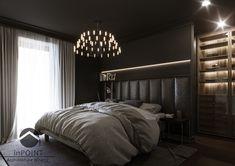 Ciemna sypialnia z przeszkloną łazienką oraz elegancką, obszerną garderobą. Taka kolorystyka sypialni szczególnie przypadnie do gustu osobom, które ze względu na tryb życia potrzebują miejsca wyciszenia i relaksu.