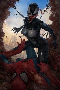 #Venom #Fan #Art. (Gwenom Vs Spidey: Symbiote face) By: Steven Purtil. (THE * 5 * STÅR * ÅWARD * OF * MAJOR ÅWESOMENESS!!!™)[THANK U 4 PINNING!!<·><]<©>