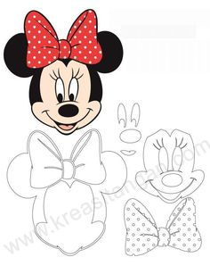 Discover thousands of images about Molde da Minnie: 30 Imagens para Imprimir - Artesanato Passo a Passo! Mickey Minnie Mouse, Minnie Mouse Outline, Minnie Mouse Template, Minnie Mouse Birthday Cakes, Minnie Mouse Cake, Mickey Mouse Birthday, Cupcakes Mickey, Mickey Cakes, Mouse Silhouette