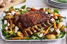 Lebanese-style lamb with honey carrots and baby potatoes recipe