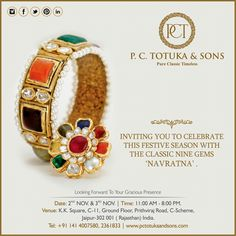 Our Navratna jewelry will add glitters to your celebrations! P.C. Totuka & Sons invites you to celebrate this festive season with the classic nine gems 'Navratna'. #PCTandSons #Jaipur #Navratna #Jewellery
