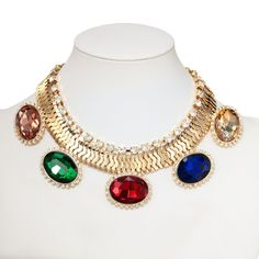 Multicolor Oval Statement Necklace