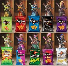 Sombra of Overwatch with 10 different flavors of Doritos & their costume colors. Overwatch Comic, Overwatch Memes, Overwatch Fan Art, Doritos, Pokemon, Gaming Memes, Best Games, Maine, Crossover