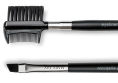 Mary Kay® Eyeliner / Eyebrow Brush $10.00. This is used to line eyes & enhance sparse brows w/eye color. The flat, angled, short-bristle brush makes it easy to apply a thin line of color along top & bottom lashes. Use it to brush brows in the opposite direction from which they grow to remove any excess foundation & brush back following their natural shape as a finishing touch. Includes an eyelash comb, use for separating lashes immediately after applying mascara.