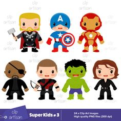 Super Kids Clipart / Avengers Clipart / Super Kids 3 / Superheroes Printable…