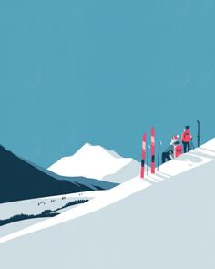 Immerse yourself in the colorful universe of Tom Haugomat - Winter sports – – illustration of a landscape by Tom Haugomat - Illustration Fantasy, Winter Illustration, Graphic Design Illustration, Digital Illustration, Mountain Illustration, Ski Vintage, Vintage Ski Posters, Photo Vintage, Tom Haugomat