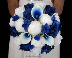 Royal Blue Wedding Flowers with royal blue halo calla lilies, royal blue roses, royal blue delphinium and peonies