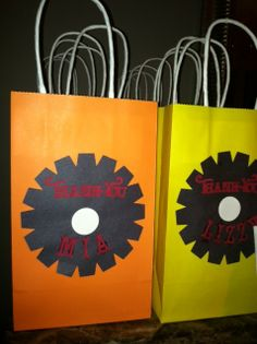 Monster truck party treat bags. Used this idea for goody bags for Billy's party.