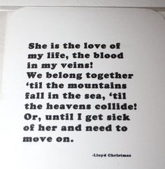 $3 - Funny Greeting Card - She is the love of my life, the blood in my veins...
