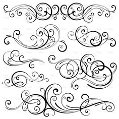 Discover thousands of images about Swirl Elements Royalty Free Stock Vector Art Illustration Swirl Design, Web Design, Stencils, Motif Art Deco, Tattoo Hals, Scar Tattoo, Motif Floral, Scroll Design, Paper Quilling