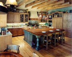 rustikale Küchen Designs kücheninsel barhocker idee