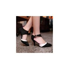 Two-Tone Ankle Strap Pumps (170 HKD) ❤ liked on Polyvore featuring shoes, pumps, footware, kohl shoes, black shoes, black pumps, high heel shoes and high heel pumps