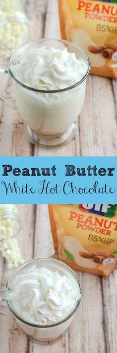 Peanut Butter White Hot Chocolate - hot chocolate recipe made with white chocolate and peanut butter!