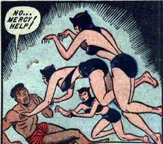The Brazilian Women's Gymnastic Team engaged in outside activities such as robbery to fund their dreams . Today they robbed Hussein Bolt of his Gold medals , cash and dignity after they sodomized him. Old Comics, Comics Girls, Vintage Comics, Funny Comics, Comic Books Art, Comic Art, Comic Frame, Vintage Pop Art, Pulp Fiction Book