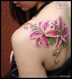 Pink Star Lily Flowers Tattoo on the Shoulder