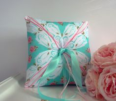 Ring Bearer Pillow, Ring Pillow, Aqua, Pink, Vintage Inspired, Vintage Handkerchief, Garden, Floral, Spring, Country Wedding, Cottage Style
