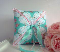 Ring Bearer Pillow Wedding Aqua Vintage Pink by TwiningVines, $35.00