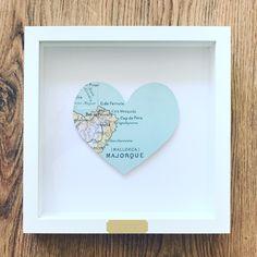 Framed Heart Map of Mallorca 💚 @etsyuk #map #paper #paperart #design #heart #travel #wanderlust #homedecor #gift #present #handmade #madewithlove #firstanniversary #wedding #anniversary #engagement #etsyuk #love #heart #bespoke #spain #personalised #home