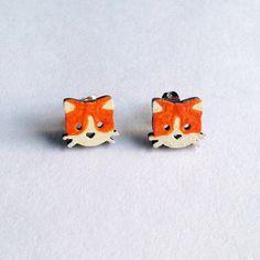 Cat Earrings - Wooden Cat Earrings, Light Weight, Minimal Jewelry, Kitten Earrings, Orange Cat Earrings, Black Cat Earrings, Wooden Earrings