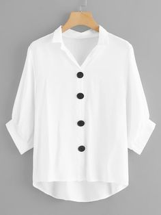 Shop Plus Single-breasted Dip Hem Blouse online. SheIn offers Plus Single-breasted Dip Hem Blouse & more to fit your fashionable needs. How To Roll Sleeves, Half Sleeves, Blouse Transparente, Save The World, Spring Shirts, Blouse Online, Plus Size Blouses, Blouse Designs, Printed Shirts