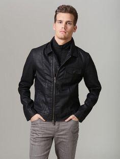 John Varvatos Star USA - Cotton Motorcycle Sweater Jacket ...