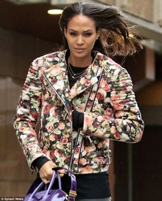 Joan Smalls in Givenchy floral biker
