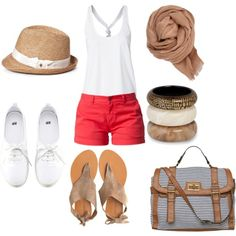 summer outfit red shorts - Polyvore