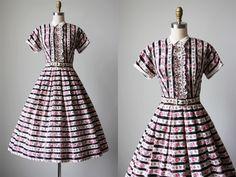 1950s Dress - Vintage 40s 50s Dress - Pink Roses Black Stripe Cotton Full Skirt Sundress XS - Fearlessly Sweet Dress by jumblelaya on Etsy