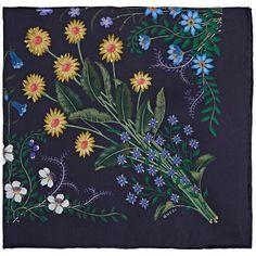 Gucci Men's Floral Silk Pocket Square (8.035 RUB) ❤ liked on Polyvore featuring men's fashion, men's accessories, handkerchiefs, navy, mens silk handkerchief and mens handkerchiefs