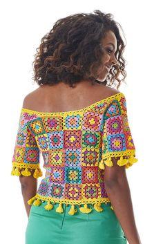 Fabulous Crochet a Little Black Crochet Dress Ideas. Georgeous Crochet a Little Black Crochet Dress Ideas. Black Crochet Dress, Crochet Tunic, Crochet Clothes, Crochet Tops, Crochet Woman, Love Crochet, Beautiful Crochet, Crochet Squares, Crochet Granny