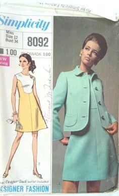 Vintage Simplicity Pattern 8092 Misses Dress Jacket Size 12 Bust 34 Uncut