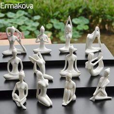 ERMAKOVA 12 Styles Abstract Art Ceramic Yoga Poses Figurine Porcelain Yoga Lady Figure Statue Home Yoga Studio Decor Ornament-in Figurines & Miniatures from Home & Garden on AliExpress Yoga Studio Decor, Yoga Decor, Yoga Studio Home, Ceramic Decor, Ceramic Art, Resin Sculpture, Ceramic Materials, Art Abstrait, Clay Art