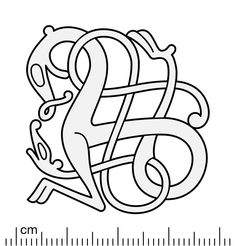 Reconstruction illustration of the bronze Urnes style openwork brooch from Bejsebakken, Denmark. The brooch displays the Great Beast motif: a larger animal intertwined by a lesser serpent, which is an extremely common motif in the Urnes. Viking Symbols, Viking Art, Viking Runes, Viking Designs, Celtic Designs, Celtic Stained Glass, Vikings, Brooch Display, Celtic Animals