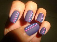 Pink and Mint Polka Dots on Gray Nails. (via forcreativejuice.com)