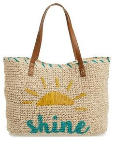 Nordstrom Shine straw tote - unny graphics help this woven straw tote stand out from the seaside crowd.  I need this for my vacation this year. 2017 trends #affiliatelink