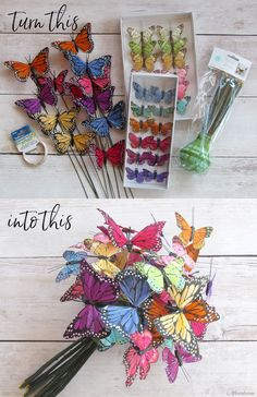 A Butterfly Bouquet is a unique and beautiful way to add some whimsey to your wedding flowers and decor.  Andrea, of Just Ann's Floral Design, created this amazing butterfly bouquet for our DIY brides.  Find artificial butterflies and floral supplies on Afloral.com and follow along to make your own bridal bouquet.