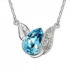 Chic Rhinestoned Decorated Leaf-Shaped Pendant Necklace For Women